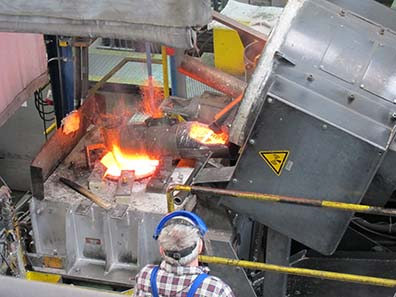 The requested alloy is composed in the furnace. Photo: UK.