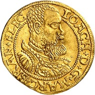 No. 8: Brandenburg-Prussia. Joachim II, 1535-1571. Ducat 1560, Berlin. Only specimen in private hands known. Almost extremely fine. Estimate: 60,000,- euros. First Brandenburg gold coin featuring the ruler's portrait.