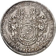 No. 1028: Bavaria. Maximilian I, 1598-1651. Double reichstaler 1627, Heidelberg, for the Rhenish Palatinate. Probably the second known specimen. Very fine to extremely fine. Estimate: 40,000,- euros.
