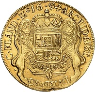 No. 1362: Belgium. Charles II of Spain, 1665-1700. 8 souverain d'or (dukaton d'or) 1694, Bruges. Very rare. Almost extremely fine. Estimate: 30,000,- euros.