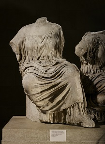 Goddesses in diaphanous drapery, figures L and M from the east pediment of the Parthenon, about 438-432 BC, Marble. © The Trustees of the British Museum.