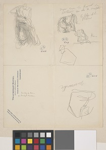 Auguste Rodin (1840-1917), Sketches including figure K from the Parthenon and a metope from the south side of the Parthenon, 20 February 1905. Graphite on paper © Musée Rodin.