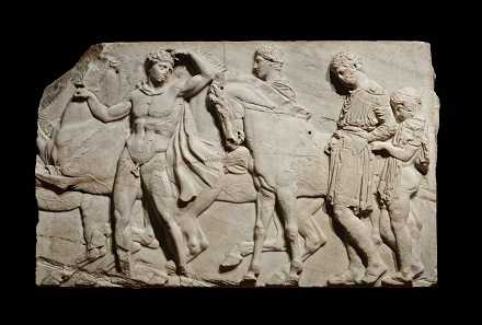 Unmounted youths preparing for the cavalcade, block from the north frieze of the Parthenon, about 438-432 BC, Marble, © The Trustees of the British Museum.
