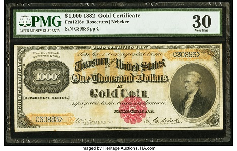 Lot 3561: Incredibly Rare Fr. 1218e $1,000 Gold Certificate.