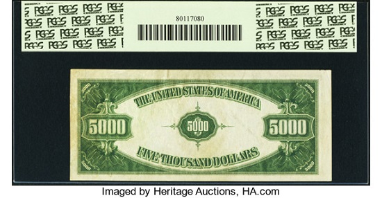 Lot 22272: Fr. 2221-K $5,000 1934 Federal Reserve Note. PCGS About New 53PPQ.