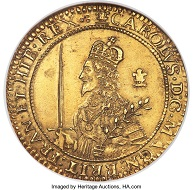 Lot: 32261: Charles I. Gold Triple Unite 1643. MS61 NGC. Oxford mint. Civil War issue.