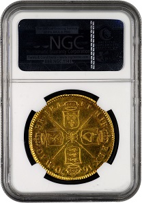 One of the great treasures of The Tyrant Collection, this 1670 proof gold 5 Guineas will be displayed at the February 2018 Long Beach Expo. Photo credit: Numismatic Guaranty Corporation.
