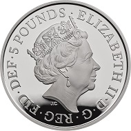 United Kingdom / 5 GBP / Cupro-nickel / 28.28g / 38.61mm / Design: Jody Clark.