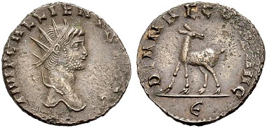 Gallienus. Antoninian, Rome. Rev. Deer standing left. From the Weder collection. Estimate: 20 euros. From Münzen & Medaillen GmbH 46 (15 February 2018), No 933.