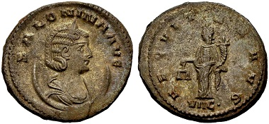 Salonina. Antoninian, Antiochia. Rev. AEQVITAS AVG Aequitas standing l., holding scales and cornucopia, date VIIC. (= 266 AD) in the exergue. From the Weder collection. Estimate: 50 euros. From Münzen & Medaillen GmbH 46 (15 February 2018), No 1005.