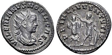 Valerian II. Caesar. Antoninian, Samosata. Rev. PRINC IVVENTVTIS Valerian holding wreath over tropaion. From the Weder collection. Estimate: 90 euros. From Münzen & Medaillen GmbH 46 (15 February 2018), No 1009.