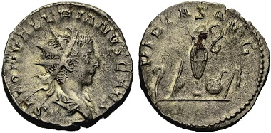 Saloninus Caesar. Antoninian, Cologne. Rev. PIETAS AVG Pontifical implements. From the Weder collection. Estimate: 75 euros. From Münzen & Medaillen GmbH 46 (15 February 2018), No 1011.