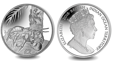 British Indian Ocean Territory / 2 Pounds / Cupro Nickel / 28.28g / 38,6mm / Mintage: 10,000.
