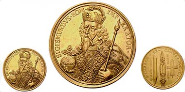 Fig. 1: NUREMBERG. Gold medal of 6 ducats. Half-length portrait of Sigismund wearing the Coronation Vestment of the Holy Roman Emperor. Rev. Imperial Regalia. 20.76 g. Erlanger Coll. 1064. From auction sale Hess-Divo AG 301 (2005), 242.