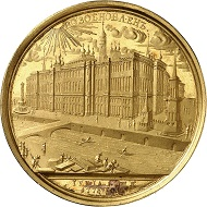 Catherine II. Gold medal by T. Ivanov on the occasion of the building of the new Kremlin Palace. Probably struck later-on with the original dies of the 18th century. Very rare. Extremely fine to FDC. Estimate: 80,000 euros.