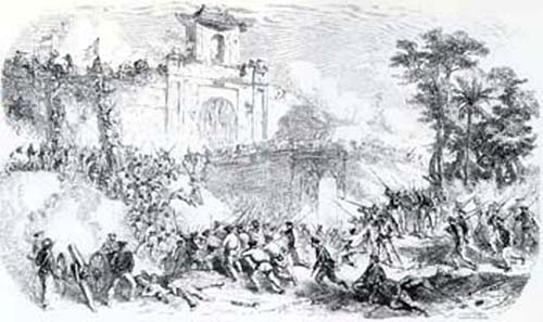 Conquest of Saigon. Illustration of the 19th cent. Source: Wikipedia.