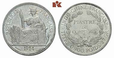 French Indochina. Piaster 1924 A. Extremely fine to brilliant uncirculated. From auction sale Künker June 22, 2011, 4484. Estimate: 400 Euros.