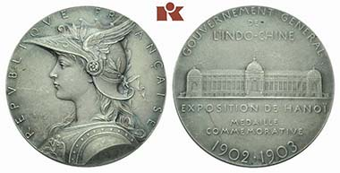 French Indochina. Silver-coated bronze medal n. d. (1902/3) by O. Roty on the exhibition of the General Government of French Indochina in Hanoi. From auction sale Künker June 22, 2011, ex 4483.