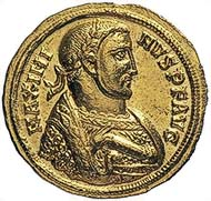 Fig. 3: MAXIMINUS II DAIA, 310-313. Aureus, Antiochia, 311. Rev. The Emperor clad in a consular mantle with a short sceptre standing to the left with a globe in his outstretched hand. 5.31 g. RIC 127avar. From auction sale Leu Numismatik 87 (2003), 111.