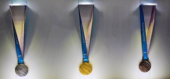 The Olympic medals that were made for the games in Pyongyang. Photo: Trainholic / Wikipedia CC-BY 4.0.