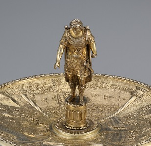 The Otho Tazza (detail), c.1587 – c.1599 (figure and dish), 19th century (foot); Netherlands?; silver gilt; Royal Ontario Museum, Toronto, from the Collection of Viscount and Viscountess Lee of Fareham, given in trust by the Massey Foundation; acc. no. 8.2018. Photo: © The Metropolitan Museum of Art.