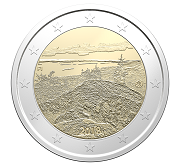 The reverse of the two-euro coin commemorating the Koli National Park.