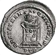 Fig. 4: CONSTANTINUS II, 337-340. Follis, Trier, 321. Laureate bust with globe to the left, on the globe Victoria crowning the Emperor. Rev. Altar with the inscription VOTIS XX, globe on top of it. RIC - (cf. 312). 2.64 g. From auction sale Numismatik Lanz 100 (2000), 560.