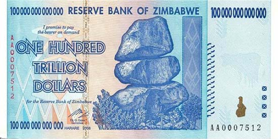 100 trillion dollars printed in 2008, put in circulation in January 2009. Source: Wikipedia.