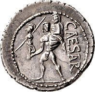 C. Julius Caesar, Denarius 48/47 B.C. Delicate toning, from new dies. Small edge chip, extremely fine. Ex Prof. Dr. Hildebrecht Hommel Collection.