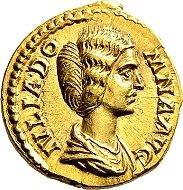 Septimius Severus for Julia Domna. Aureus 193/196, Rome. Rare. Extremely fine to FDC. From German private owner, acquired before 2000.