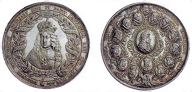 Fig. 9: HRE. Joseph I, 1705-1711. Huge dynasty medal 1690 by M. Brunner. Crowned half-length portrait of Joseph inside an olive wreath with a banderole. Rev. Genealogical tree with 15 medals of Hapsburg rulers. 124.00 g. Julius Coll. 524. From auction sale Hess-Divo AG 300 (2004), 1011.