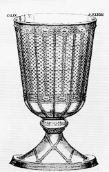 Fig. 1: Chalice of Eligius, after a copperplate print of 1793. The work made by Eligius was preserved in the Chelles Monastery until the French Revolution when it was melted down.