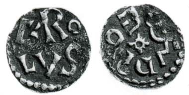Fig. 2: Charles the Great, 768-814. Denarius from Melle. MEC 728. From auction sale Münzen und Medaillen AG, Basel 81 (1995), 1003.
