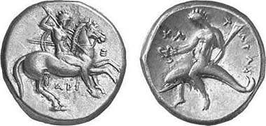 Tarentum, stater, 325-281. Fischer-Bossert 925. From auction Gorny & Mosch 118 (2002), 1096.