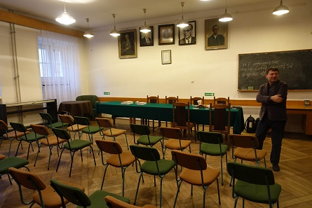 There are photos of the presidents of the Polish Numismatic Society in the auditory. Photo: UK.