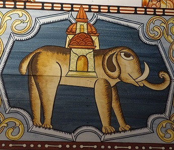 Detail from the painted vaults from 1652: elephant. Photo: UK.