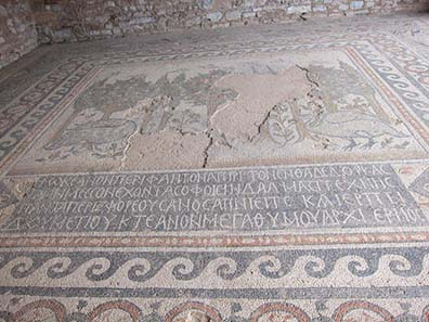 Mosaic floor of the Basilica of Doumetios with the inscription of the dedicator. Photograph: KW.