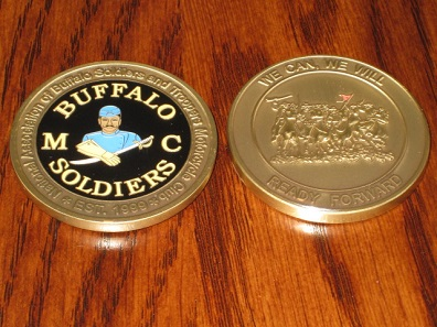 Even the completely unmilitary National Buffalo Soldiers Motorcycle Club issues challenge coins by now. But one has to earn this one.
