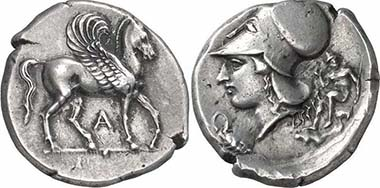 Ambracia, Stater, c. 404-360. Av. Pegasos r., below A. Rev. Head of Athena with Corinthian helmet l., in front of it snake coiling round a turtle, behind that nude hero. Cal. 86. From auction Gorny & Mosch 155 (2007), 87.