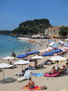 The Castle of Parga, in the foreground beach life. Photograph: KW.