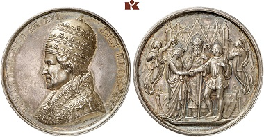 A silver medal of Pope Pius IX from 1846/1846 on his accession to the throne. From Künker auction 305 (2018), 2191.