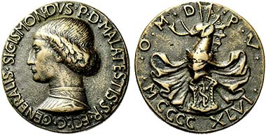 Sigismondo Malatesta, medal by Matteo de' Pasti. Hill 165. From auction Numismatica Ars Classica 53 (2009), 518.
