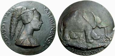 Isotta degli Atti. Medal by Matteo de' Pasti. From auction Astarte 19 (2006), 585.