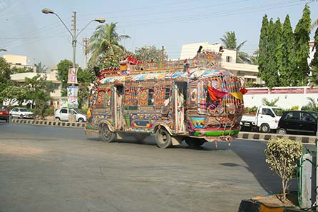 Decorated bus in Karachi, Pakistan. Source: Wikipedia/ Mishari Muqbil.