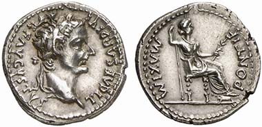 So-called tribute penny, a denarius of Tiberius, RIC 30. From auction The New York Sale XX (2009), 395.
