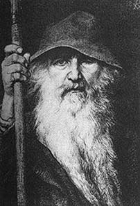 Odin lost an eye to find wisdom and the gift of prophecy. Picture: Georg von Rosen, 1886.