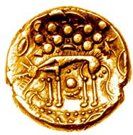 Is this Skoll, the Norse wolf who swallowed the sun, or his half-brother Hati who slew the moon? Norfolk Wolf gold stater of the Iceni, c.55-45 BC, ABC 1396 var. Found in Norfolk, 23.9.2000. Source: Chris Rudd.