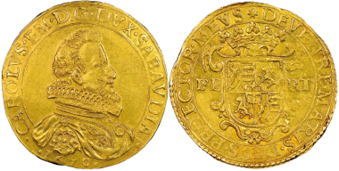 No. 1505 – Charles Emmanuel I, 1580-1630. 10 scudi d'oro, type II, Turin, 1610. Only three specimens known! NGC MS60. Estimate: 200,000 euros.