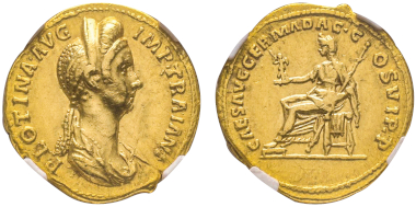 No. 92 – Plotina, 105-122. Aureus, 112-115. Very rare. NGC AU 5/5 ? 3/5. Estimate: 20,000 euros.