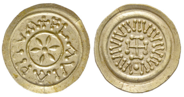 No. 463 – Lombard coins. Tremissis, Pistoia, 8th century. Unpublished. Extremely fine. Estimate: 8,000 euros.
